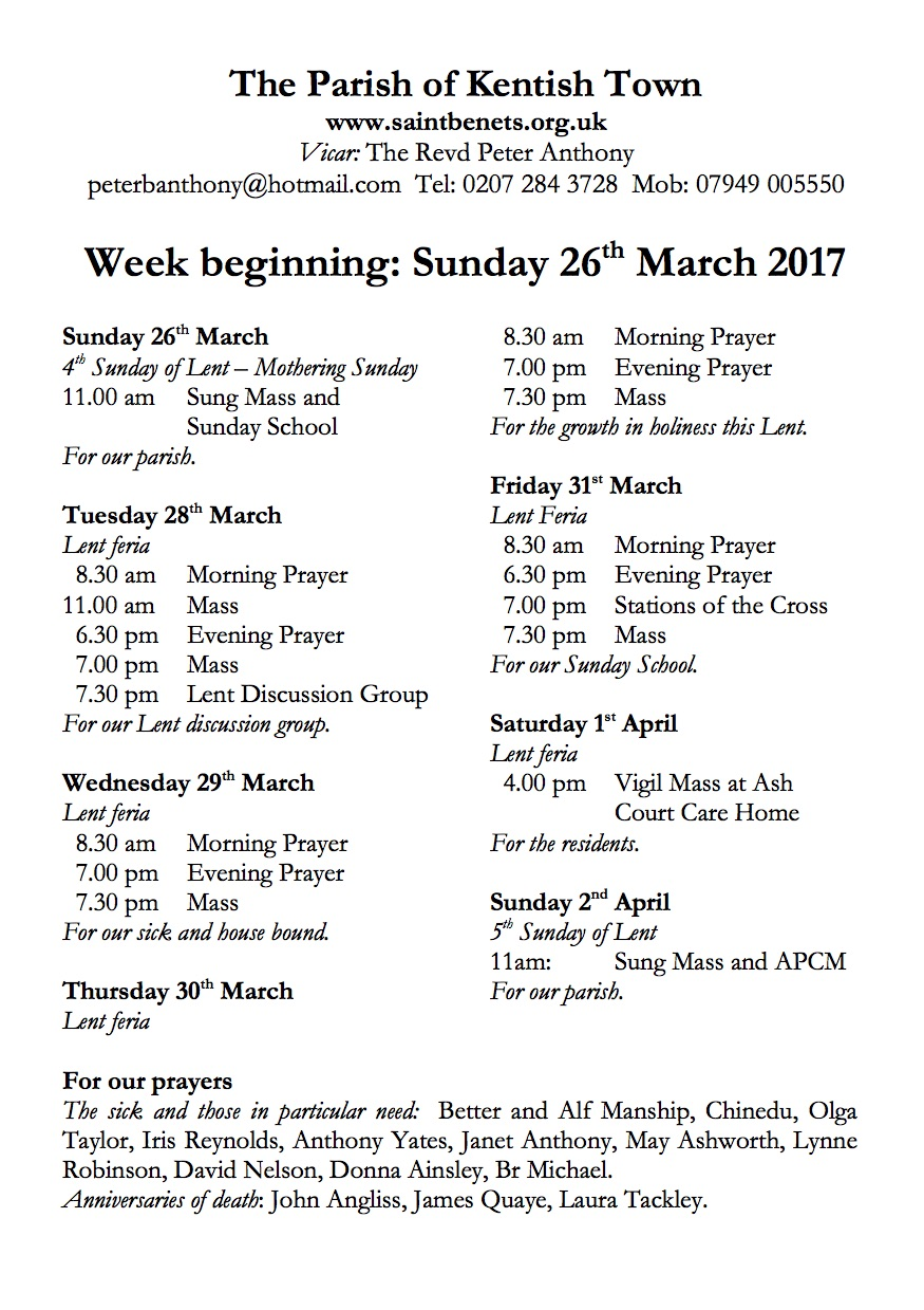 Notices 26th March 2017