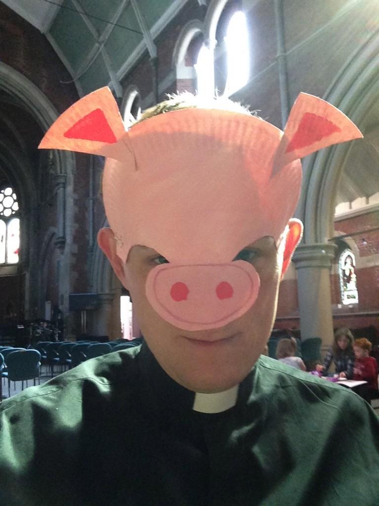 Fr Peter's pig mask.