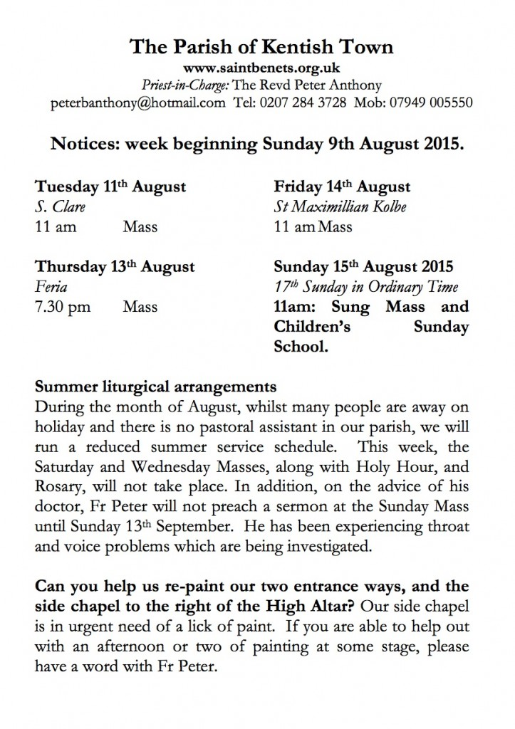 Notices 9th August 2015