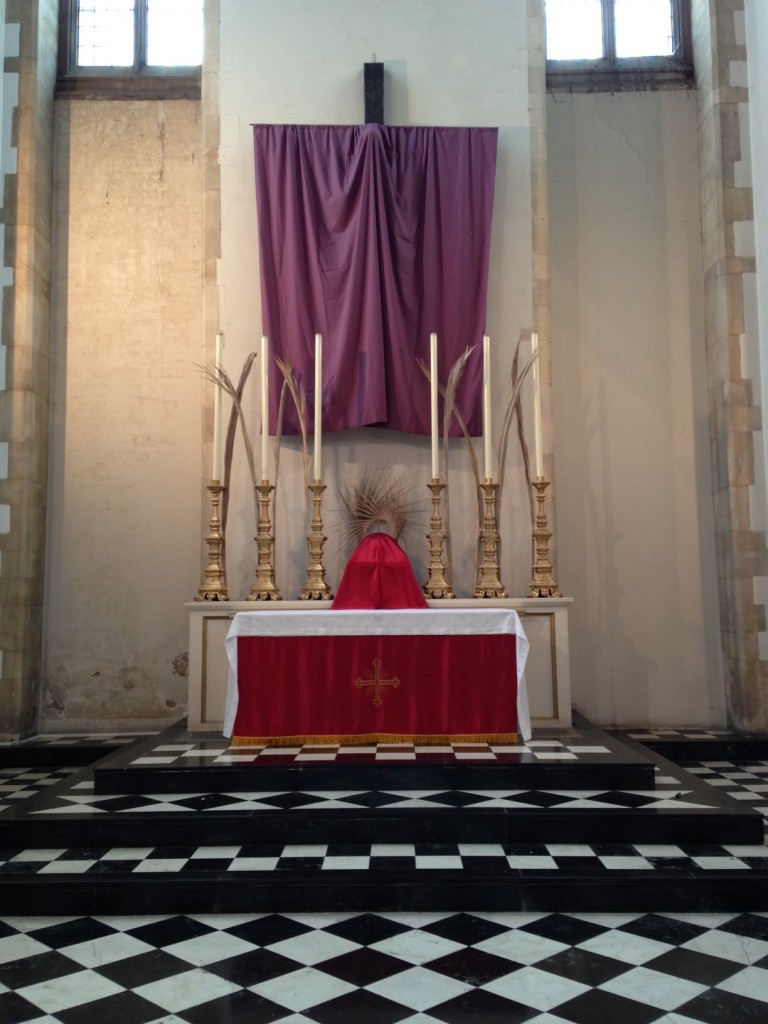 New red altar frontal ready for Palm Sunday