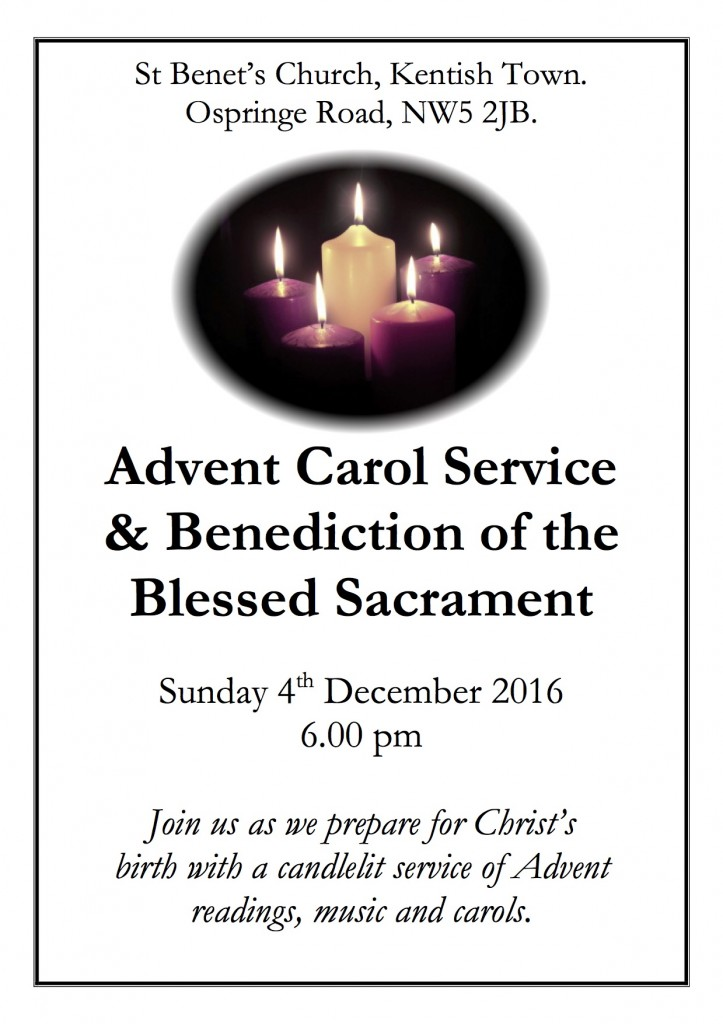 Advent Carol Service – Sunday 4th December 2016