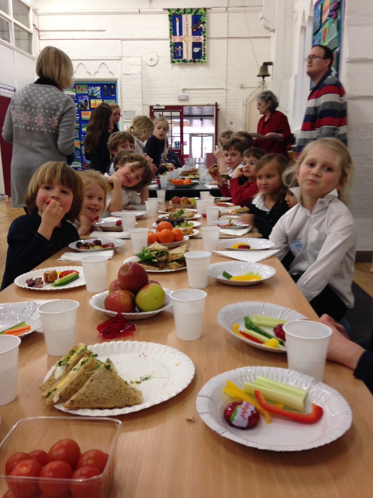 Tucking into our Messy Church tea.