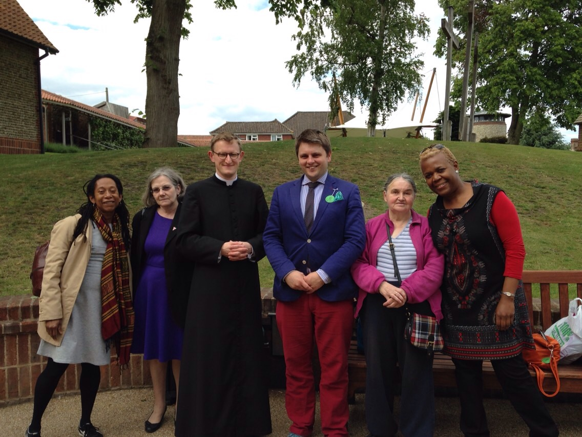 William Hamilton-Box (pastoral assistant 2015-16) with a group of pilgrims on our parish pilgrimage to Walsingham.