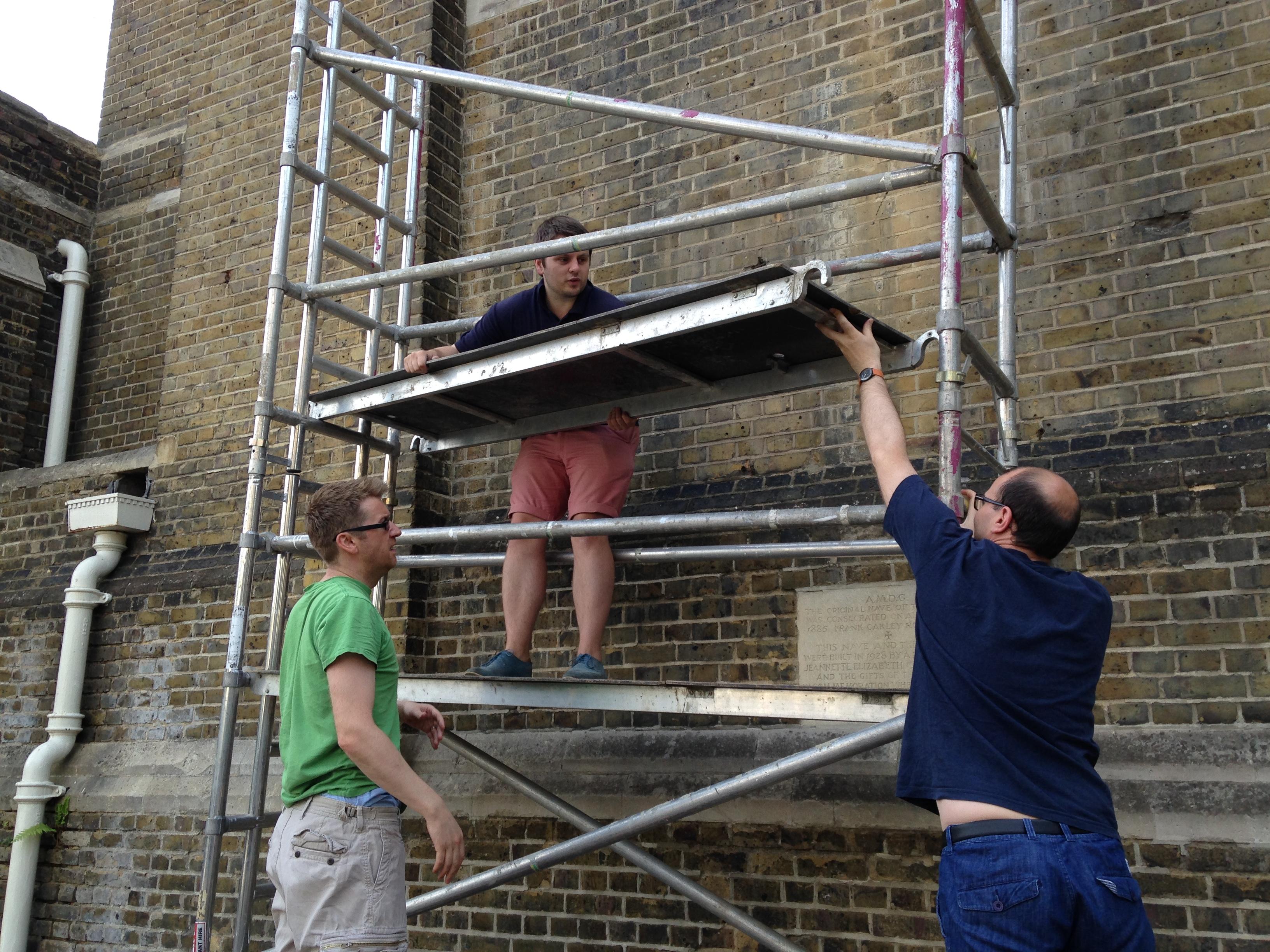 Here is William Hamilton-Box heroically erecting scaffolding!