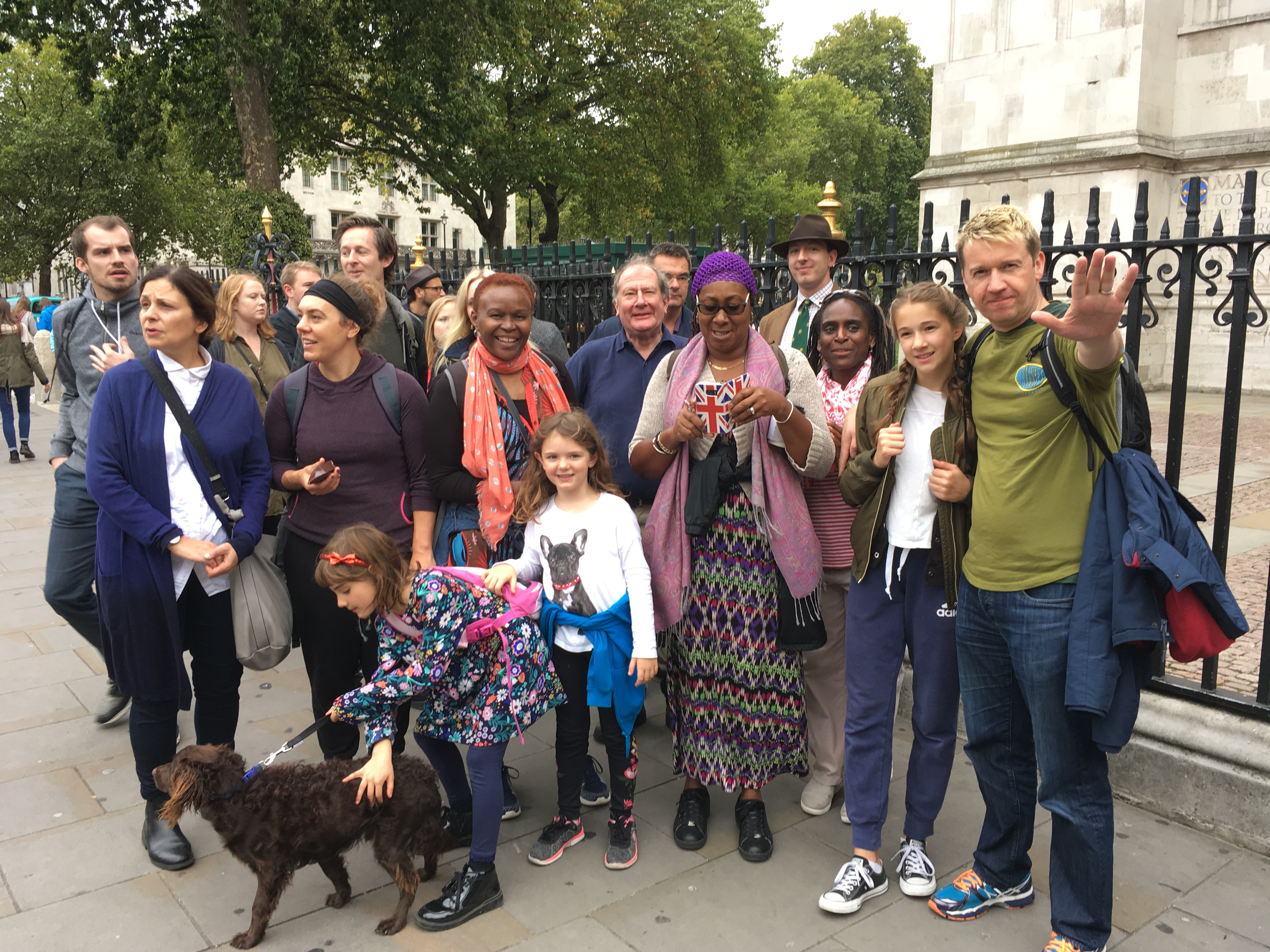 Sebastian Jones (back row; trilby) participating in our sponsored walk to Westminster Abbey.