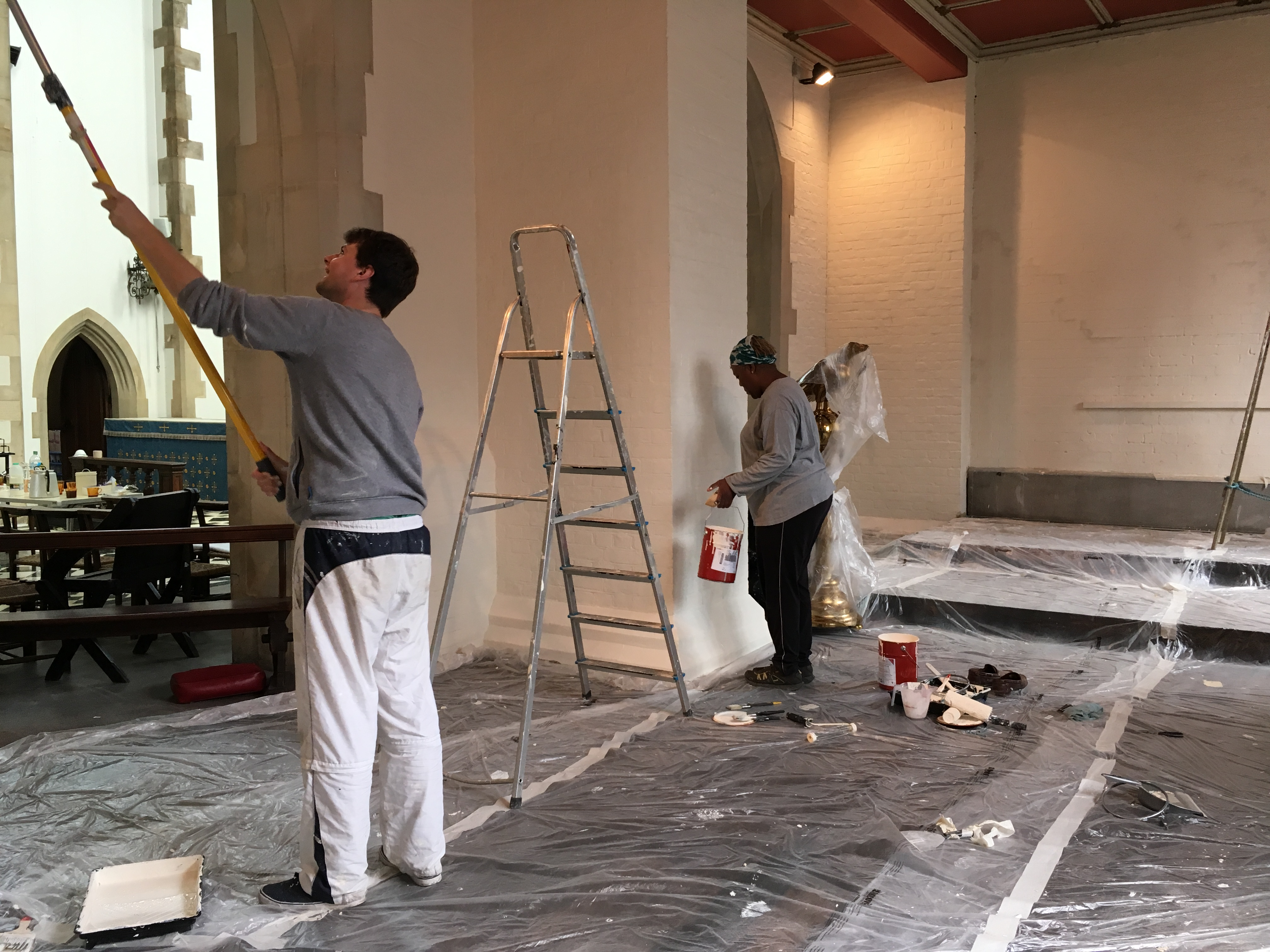 Hard work always forms part of our pastoral assistants' time with us! Here is Tom Crowley re-painting our side chapel.